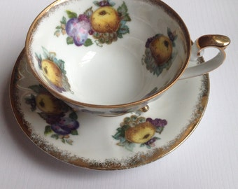 A Nice Vintage Japanese Teacup With Fruit Decoration