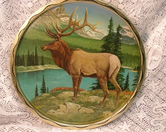 Vintage Metal Tray with Elk and Mountains Mint Condition James L. Artig