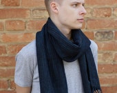 Handwoven scarf for men blue black stripes merino wool mens scarf READY TO SHIP!