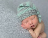 Newborn Grey and Seafoam Blue Green Striped Knit Alpaca Sleeper Hat - Ready to Ship Photography Prop