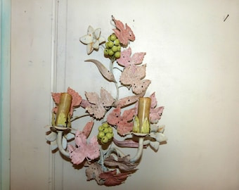 Antique French tole wall sconce lamp wallsconce w grapes w flowers toleware lighting wall fixture, romantic shabby chic French boudoir light