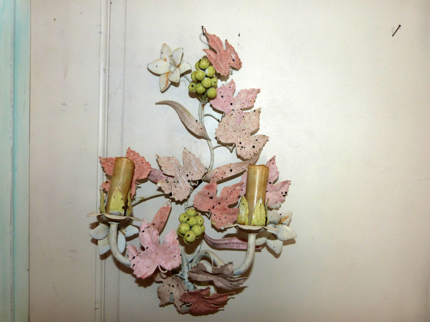 Wall Sconces With Grapes : Antique French tole wall sconce lamp wallsconce w grapes w