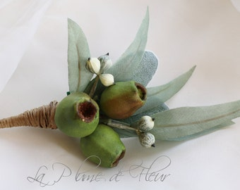 Banjo.  Men's Buttonhole/Boutonniere - Gumnuts and Eucalyptus leaves.