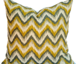 Nate Berkus Gray and Gold Chevron Decorative Pillow Cover, 18x18, 20x20, 22x22 or lumbar pillow, Accent Pillow, Throw Pillows,