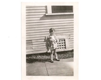 Cute Vintage Photo - Little Girl Wearing a Headband - Teddy Bear - 1936 Snapshot - Collectible Photography - Scrapbooking
