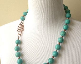 Green Turquoise Round Bead Single Strand Necklace - Turquoise and Copper Statement Necklace - Boho Collection