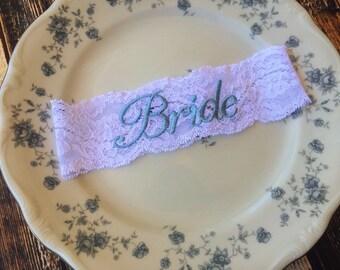 BRIDE GARTER BLUE / lace garter / Something Blue / vintage garter