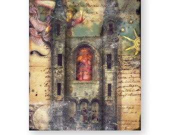 "Mixed Media Collage Art, Rustic Decor, Gothic Decor, Church Art, Religious Art, Castle, 8 x 10 ""Doctrine"""
