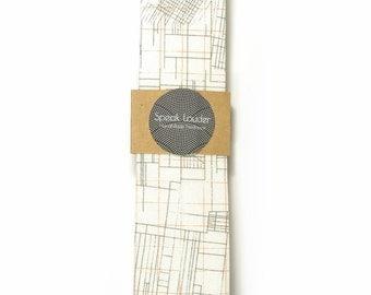 Orange white architecture necktie - Wedding Mens Tie Skinny Necktie - Laid-Back necktie