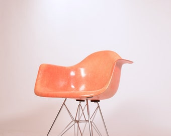 Early Eames Roped Edge Salmon Shell Chair by Zenith
