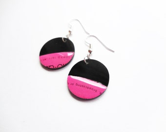 hot pink earrings eco friendly earrings recycled jewelry unique jewelry music earrings LP vinyl disc earrings funky jewelry colorful jewelry