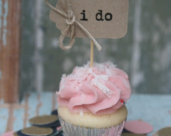 10 i do cupcake toppers with Fine Jute Twine