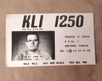 Wild Bill, The Ole Plow Boy, KLI 1250 Vintage Radio Promo Card, 40s-50s collectible card, Kansas