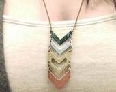 The Rachel- Antique Copper, Silver, Gold and Rose Gold Chevron Pendant Mixed Metal Upcycled Necklace