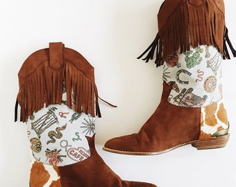 1980s RARE Stuart Weitzman for Nicole Miller Cowgirl Boots Sz 7