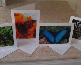 Birthday Card Set of  Four Butterflies, Blank Cards, Note Cards, Many Uses Such as Baptism, Confirmation, Wedding,Sympathy, Mother's Day