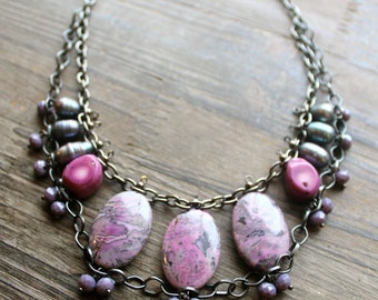Statement Bib Necklace, Radiant Orchid, Stone / Coral / Pearl Gunmetal Necklace, Color Blocking