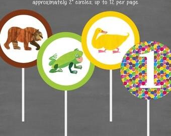 INSTANT DOWNLOAD Eric Carle Brown Bear, Brown Bear Birthday Cupcake Toppers--Custom Printable