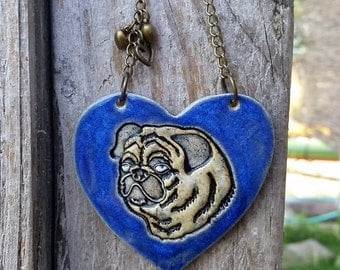 Fawn Pug - Cobalt Blue Ceramic Ornament