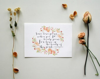 Love and Beauty - Saint Augustine Quote Print - 5x7