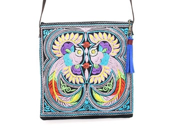 Colorful Embroidered Bag With Tassel Zipper Pull Removable Leather Strap (BG5108-MUB)