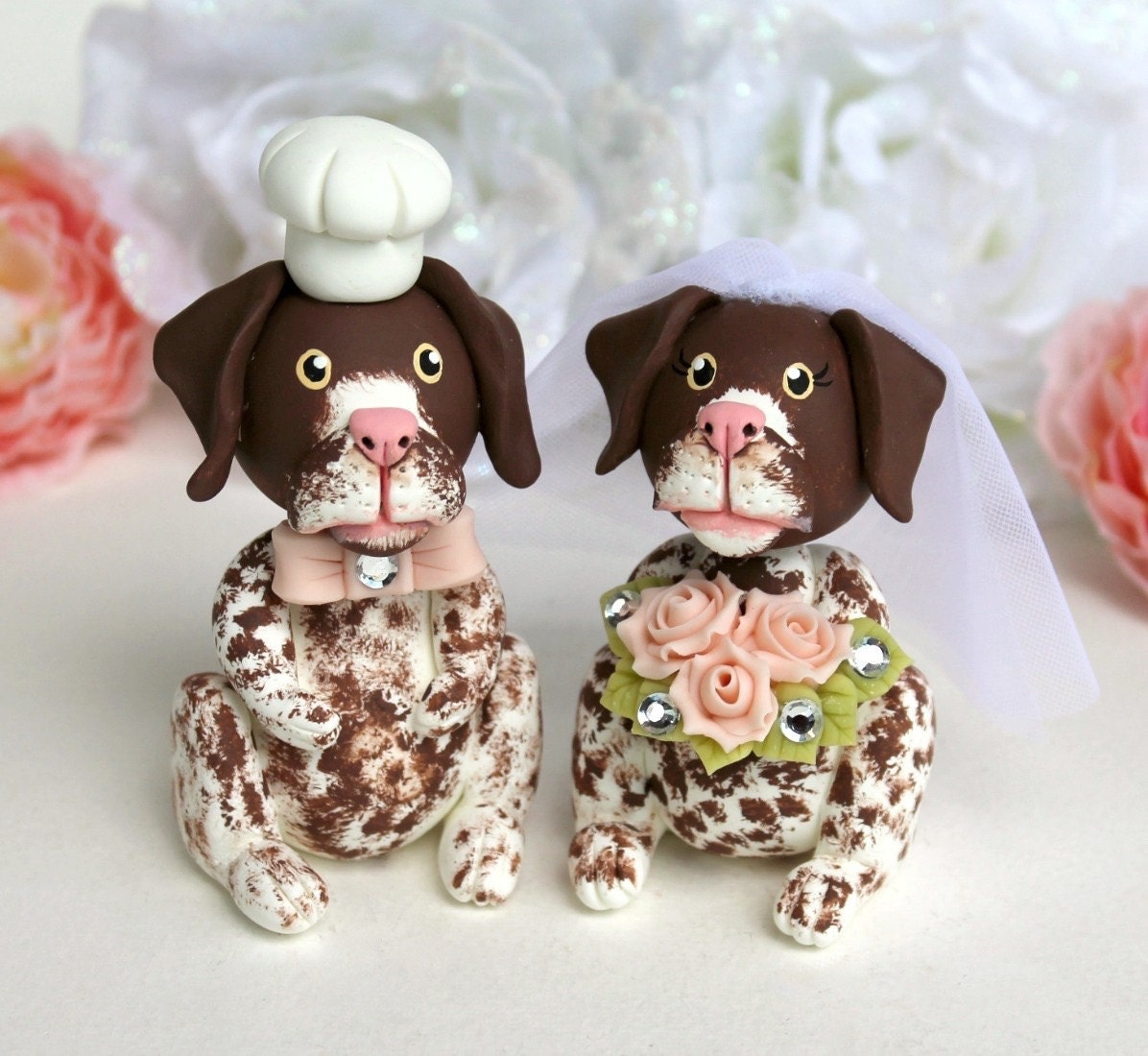 Pointer dog wedding cake topper custom bride and groom based