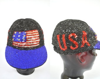 Vintage Sequin USA American Flag Beaded Hat Deadstock