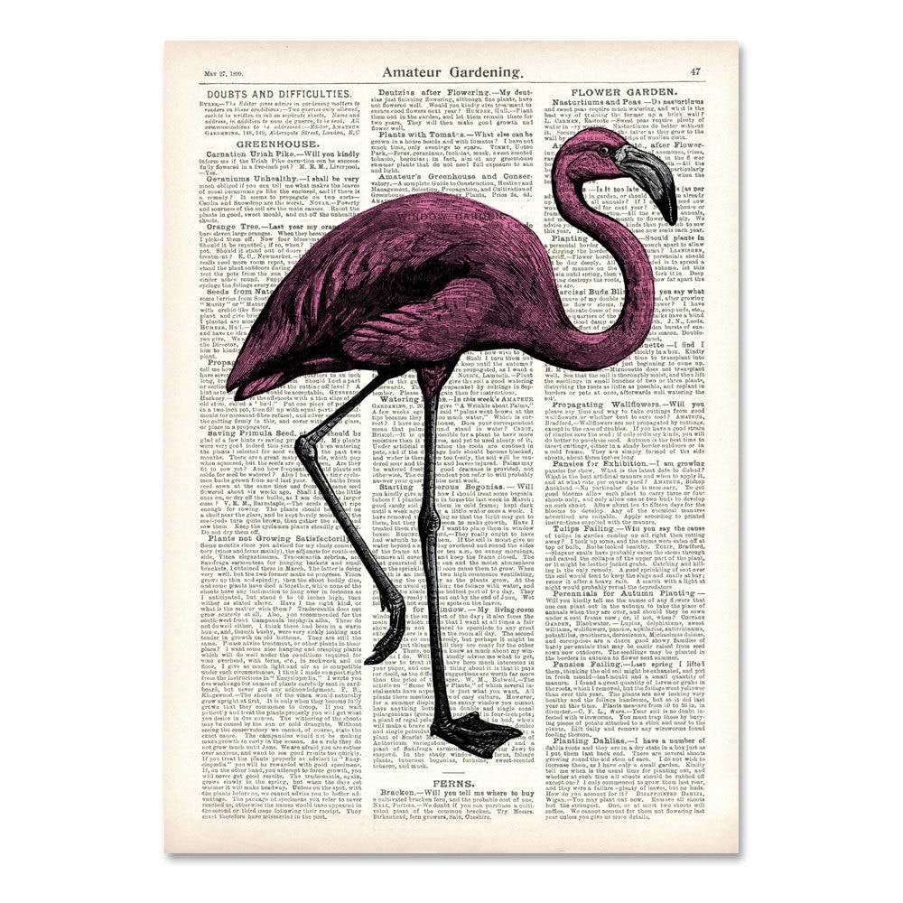 pink FLAMINGO art print vintage flamingo engraving by ...