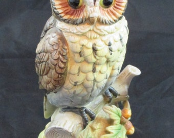 "Vintage Owl Figurine Japan 8"" on Branch with Acorns EVC"