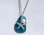 Teal Cultured Glass Starfish Pendant with Shell Pearl - Beach Jewelry, Cultured Glass Jewelry, Starfish Necklace