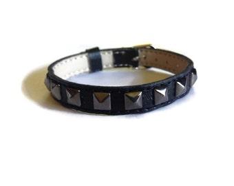 Vegan Leather Buckle Bracelet -  Studded Wristband - 10mm Black Vegan Leather Strap -  Adjustable - Layering Bracelet