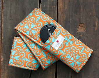 DSLR Camera Strap Cover with Lens Cap Pocket and Padding Included- Aqua and Orange