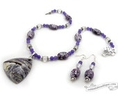 Purple Jasper Jewelry Set necklace earrings set purple jewelry jasper necklace pendant necklace lavender necklace holiday gift for her