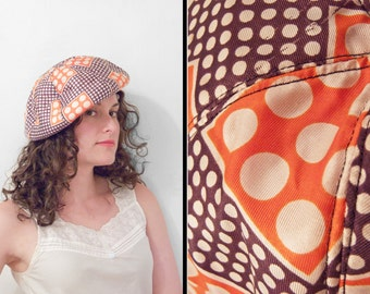 PATRICE Psychedelic Beret 1970s Op Art Brown Orange Floppy