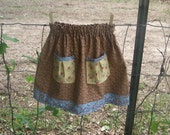 Girls Pocket Market Skirt Size 3 Brown, Blue and Yellow Floral