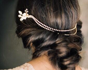 Diamantes de imitación y perla Headchain, tocado de novia - estilo 4615 'Rosina' hecha a la medida