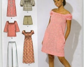 Dress Or Top And Pants Or Shorts Size 6 8 10 12 14 Sundress Sewing Pattern 2009 Simplicity 2616 Easy To Sew