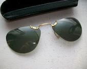 Vintage Polaroid Sunglasses Clip On Slip On with Case 1950s Mid Century