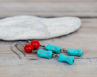 Turquoise And Coral Earrings, Dangle, Natural Stone, Red Coral