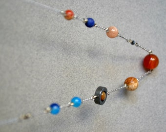 Planets Necklace, Solar System Necklace, Space Jewelry, Galaxy Necklace, Stainless Steel Chain Necklace Gemstones Geek Astronomy Astrology