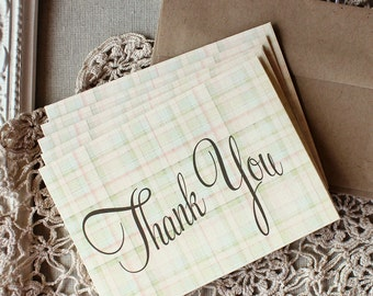 Thank You Notes set of 5 Pastel Plaid Skeleton Key