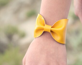 Yellow Bow Cuff Bracelet, Wide Cuff Bracelet, Wristband, Faux Leather Vegan Jewelry, Bow Tie Bowtie Wrist Tattoo Cover Up Bridesmaid Gift