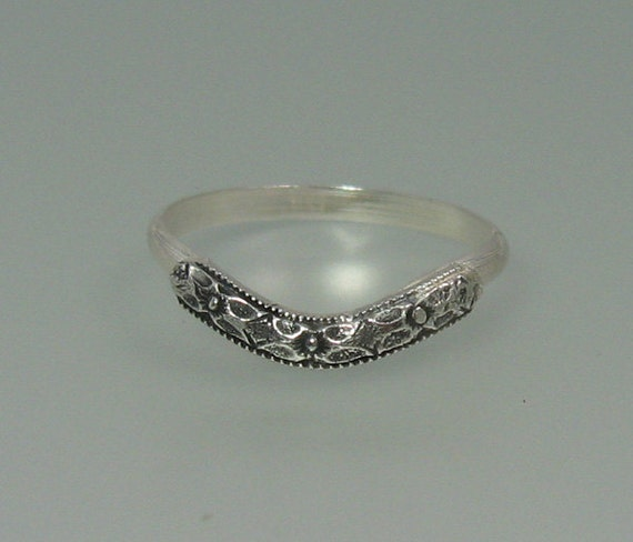 Curved Wedding Band Antique Style Sterling Silver Wedding