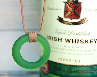 Jameson Irish Whiskey Leather Necklace | Recycled Glass Bottle Jewelry