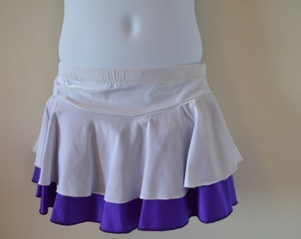 White and Purple skirt great for figure skating, dance, cheer, and gymnastics