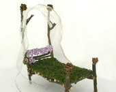 Fantasy Fairy Bed - Dollhouse Bed for Woodland Princess - Faery Fairy Garden Furniture - Waldorf