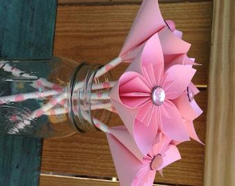 Pink Kusudama Paper Flower Favor on Polka Dot Paper Straw