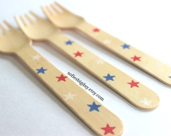 Red White & Blue utensils-20 Independence Day forks-red white and blue star utensils-July 4th forks-Patriotic utensils-Military utensils-20