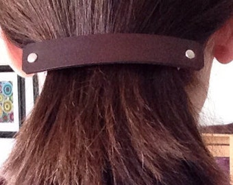 Leather Barrette Plain Leather Barrette in Your Choice of Colors 4-1/4 inch - Love That Leather