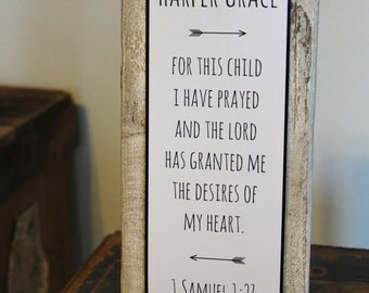 "Baby Nursery Quote Sign - Rustic Decor - New Parent Gift - ""FOR THIS CHILD I have prayed"" - Bible Verse quote"